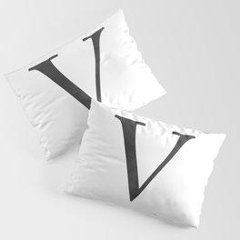 Letter V Initial Monogram Black and White Pillow Sham