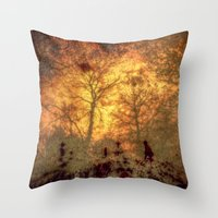 tote bag Throw Pillows featuring The Search For Red ( for tote bag ) by Andy Burgess