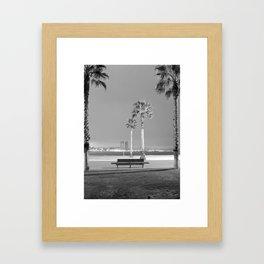 Night in Barceloneta beach Framed Art Print