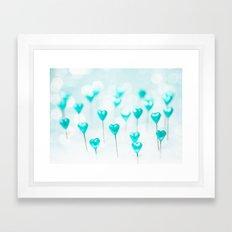 Turquoise hearts Framed Art Print