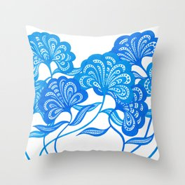 Blue Bloom Throw Pillow