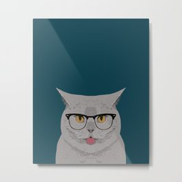 Kai - British shorthair cat gifts for cat lovers, cat lady gifts Cat people gifts, Hipster Glasses Metal Print
