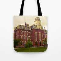 college Tote Bags featuring College Hall by Folk City