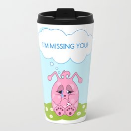 Cute pink monster is missing you Travel Mug