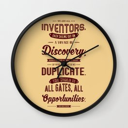Lab No. 4 We Are All Inventors Ralph Waldo Emerson Inspirational Quote Wall Clock