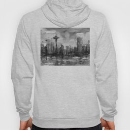 Seattle Skyline Painting Watercolor Black and White Space Needle Hoody