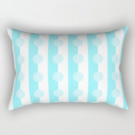 Horizons in Summer Geometric Stripes - Azure Turquoise Blue & White Rectangular Pillow
