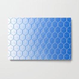Blue Hue Cubes Metal Print