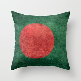 Bangladeshi Flag in retro grunge Throw Pillow