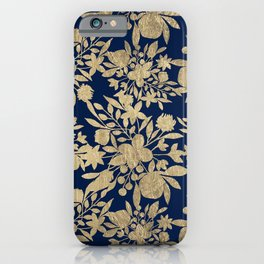 Modern Chic Navy Blue Gold Floral Arrangements iPhone Case