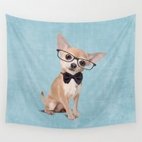 chihuahua Wall Tapestries featuring Mr. Chihuahua by Roberta Jean Pharelli