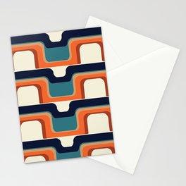 Mid-Century Modern Meets 1970s Orange & Blue Stationery Cards
