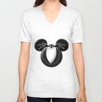 jack skellington V-neck T-shirts featuring Jack Skellington Mouse by Miranda Copeland