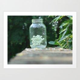 Queen Anne's Lace/Jar w/ bokeh Art Print