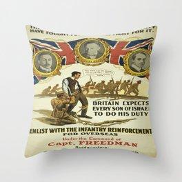 Vintage poster - British Recruiting Throw Pillow
