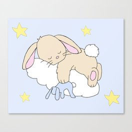 Floppy Ears Woodland Baby Bunny Sleeping on Cloud in Starry Night Sky Canvas Print