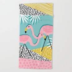 Bro - wacka design memphis throwback minimal retro hipster 1980s 80s neon pop art flamingo lawn Beach Towel