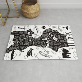 Seattle Illustrated Map in Black and White - Single Print Rug