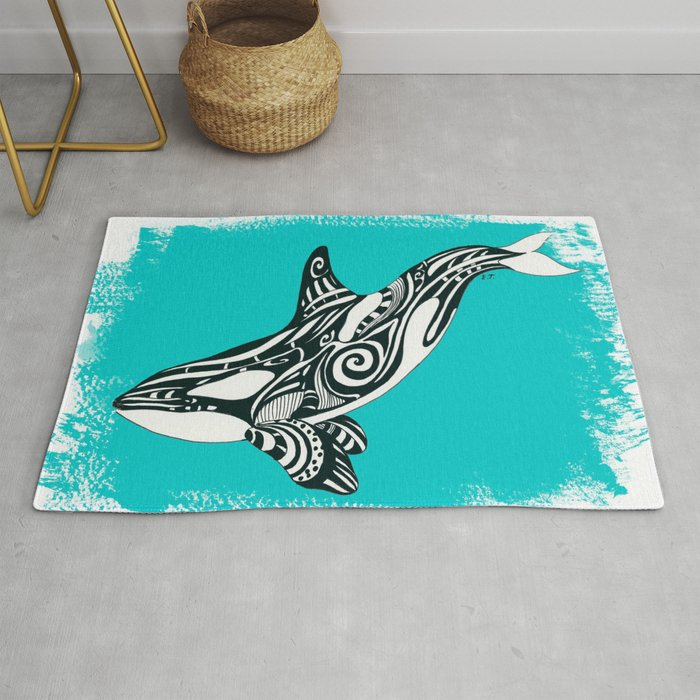 78f5c6498 Orca Killer Whale Teal Tribal Tattoo Rug by eveystudios | Society6