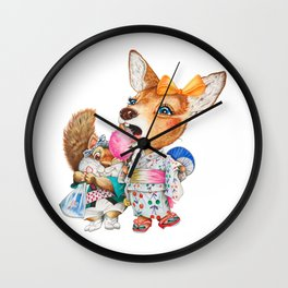 A child deer and squirrel at the summer festival Wall Clock