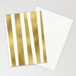 Gold unequal stripes on clear white - vertical pattern Stationery Cards