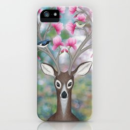white tailed deer, black throated blue warblers, & magnolia blossoms iPhone Case