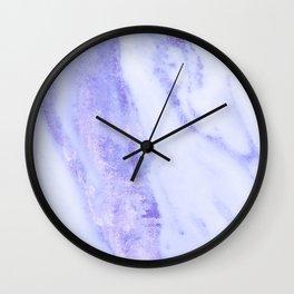 Shimmery Sky Blue Indigo Marble Metallic Wall Clock