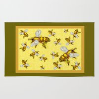 bees Area & Throw Rugs featuring Bees by Mona Harris