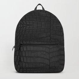 Black Crocodile Leather Print Backpack