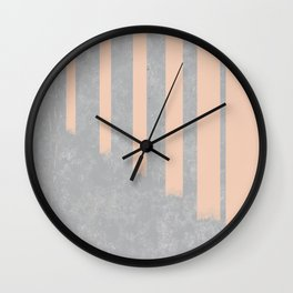 Blush stripes on concrete Wall Clock