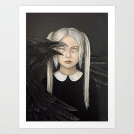 Girl with raven Art Print