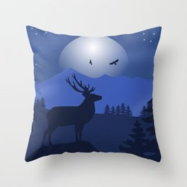 Mystical Night in the Mountains Throw Pillow