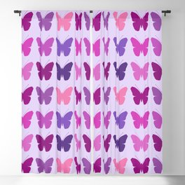 Butterly Silhouettes 3x3 Pinks Purples Mauves Blackout Curtain