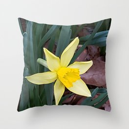 First sign of Sprng Throw Pillow