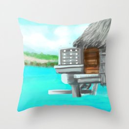 Sitting over the water in Bora Bora  Throw Pillow