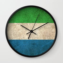 Old and Worn Distressed Vintage Flag of Sierra Leone Wall Clock