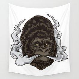 Vaping Gorilla Illustration   Monkey Vape Wall Tapestry
