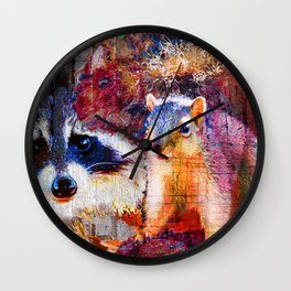 Squirrel And Raccoon Wildlife Art, Modern Nature Art Wall Clock