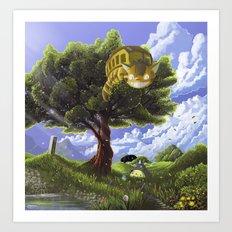 Totoro and Catbus Art Print