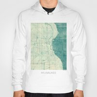 milwaukee Hoodies featuring Milwaukee Map Blue Vintage by City Art Posters