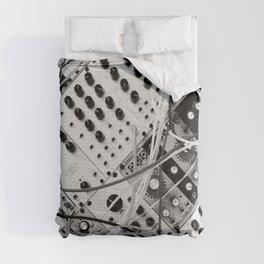 analog synthesizer  - diagonal black and white illustration Comforters