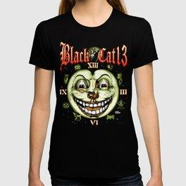 Black Cat 13 Halloween Clock T-shirt