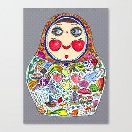 'Cheeks like apples' Matryoshka doll Canvas Print