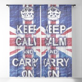 Keep Calm and Carry On Pastel Sketch Sheer Curtain