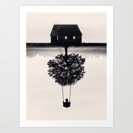 Drift Away (b&w) Art Print