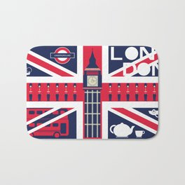 Vintage Union Jack UK Flag with London Decoration Bath Mat