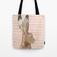 hare Tote Bags featuring Hare by stephanie cole DESIGN