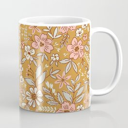 Vintage floral background. Flowers pattern with small flowers on a gold background.  Coffee Mug