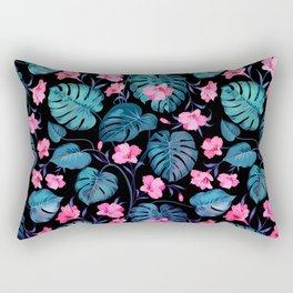 Modern neon pink blue green tropical floral illustration Rectangular Pillow