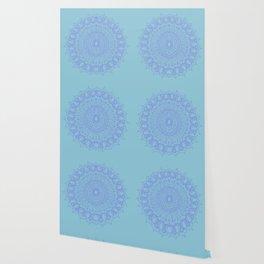 Bohemian Mandala in Beautiful Light Blues Wallpaper
